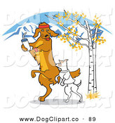 Vector Clip Art of a Pair of Dogs Walking or Jogging Outdoors in the Fall by Andy Nortnik