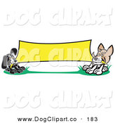 Vector Clip Art of a Pair of Small Dogs Playing Tug of War with a Blank Yellow Banner Clipart Illustration by Andy Nortnik