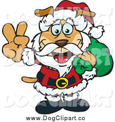 Vector Clip Art of a Peaceful Dog Santa Carring a Toy Sack by Dennis Holmes Designs
