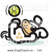 Vector Clip Art of a Playful Dog Playing with a Tennis Ball While Laying on His Back by Andy Nortnik