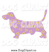 Vector Clip Art of a Purple Basset Hound Dog with Yellow Triangle Patterns by Prawny