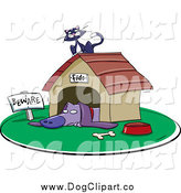 Vector Clip Art of a Purple Pup Resting in a Dog House by Jtoons