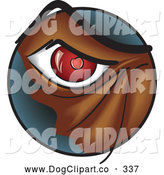 Vector Clip Art of a Red Eye of an Angry Monster or Dog by Paulo Resende