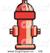 Vector Clip Art of a Red Fire Hydrant Ready for Use in Case of an Emergency on Solid White by Andy Nortnik