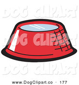 Vector Clip Art of a Red Metal Dog Bowl Filled with Fresh Water on a White Background by Andy Nortnik
