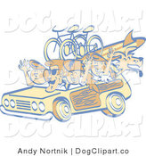 Vector Clip Art of a Retro Family Taking Woody Car and Dog to the Beach by Andy Nortnik