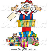 Vector Clip Art of a Santa Dog with Presents by Dennis Holmes Designs