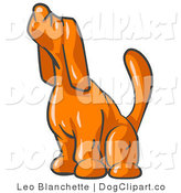 August 29th, 2012: Vector Clip Art of a Scared Orange Tick Hound Dog Sniffing the Air and Looking Left by Leo Blanchette