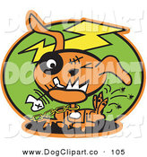 Vector Clip Art of a Scary Orange Zombie Dog with Stitches and a Black Eye, Itching Fleas off of Himself and Biting a Fishbone by Andy Nortnik