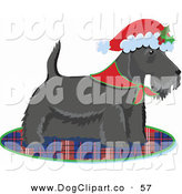 Vector Clip Art of a Scottie, Scottish or Aberdeen Terrier Puppy Dog Wearing a Bandana and Santa Hat by Maria Bell
