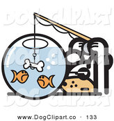 Vector Clip Art of a Silly Household Pet Dog Trying to Catch Goldfish in a Bowl with a Dog Bone on a Hook by Andy Nortnik