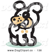 Vector Clip Art of a Silly White Pet Dog Biting His Own Tail by Andy Nortnik