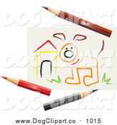 Vector Clip Art of a Sketch of a Dog by a House, with Colored Pencils by Dennis Holmes Designs