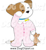 Vector Clip Art of a Sleepy Puppy Dog in Pajamas, Holding a Teddy Bear by Maria Bell