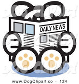 Vector Clip Art of a Smart and Cute Dog Sitting and Reading the Newspaper by Andy Nortnik