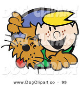 Vector Clip Art of a Smiling and Happy Blond Haired Freckle Faced Boy Peering Through a Hole with His Brown Dog by Andy Nortnik