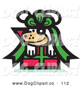 Vector Clip Art of a Smiling Cute Dog Tied up in a Bow on a Christmas Present by Andy Nortnik