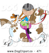 Vector Clip Art of a Smiling Little Girl Riding a Painted Pony with a Cavalier King Charles Spaniel Sitting Behind Her, Holding on to Her Braids by Maria Bell