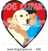 Vector Clip Art of a Smiling Loving Boy Hugging His Yellow Labrador Retriever Dog in a Red Heart by David Rey