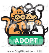 Vector Clip Art of a Smiling Orange Cat with His Arm Around a Cute White Dog on an Adopt Internet Web Icon by Andy Nortnik