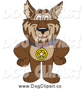 Vector Clip Art of a Sporty Wolf School Mascot Wearing a Medal by Toons4Biz
