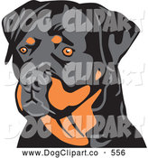 Vector Clip Art of a Stern Alert Tan and Black Rottweiler Dog Looking to the Left, over a White Background by David Rey