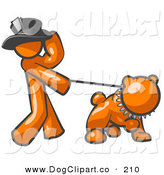 Vector Clip Art of a Swanky Orange Person Walking a Tough Bulldog on a Leash by Leo Blanchette
