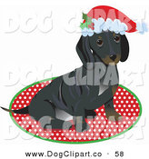 Vector Clip Art of a Sweet and Cute Little Dachshund Puppy Dog Wearing a Santa Hat and Sitting on a Rug After Being Given As a Gift on Christmas by Maria Bell