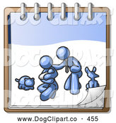 Vector Clip Art of a Sweet Blue Family Showing a Man Kneeling Beside His Wife and Newborn Baby with Their Dog and Cat on a Notebook, Symbolizing Family Planning by Leo Blanchette