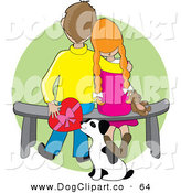 Vector Clip Art of a Sweet Boy Sitting on a Bench Beside His Red Haired Girlfriend Who Is Resting Her Head on His Shoulder As a Dalmation Puppy Sniffs a Box of Chocolates by Maria Bell