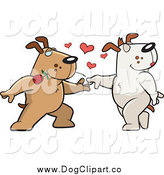 Vector Clip Art of a Sweet Brown Doggy Character Biting a Rose and Dancing with a Female by Cory Thoman