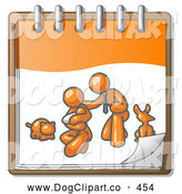 Vector Clip Art of a Sweet Orange Family Showing a Man Kneeling Beside His Wife and Newborn Baby with Their Dog and Cat on a Notebook, Symbolizing Family Planning by Leo Blanchette