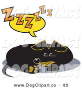Vector Clip Art of a Tired Little Dachshund Dog Curled up and Napping on the Floor by Andy Nortnik