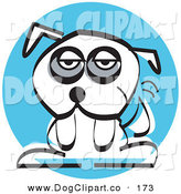 Vector Clip Art of a Tired White Mutt Dog on a Blue Circle over White by Andy Nortnik