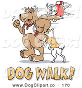Vector Clip Art of a Trio of Dogs Walking with Dog Walk Text by Andy Nortnik