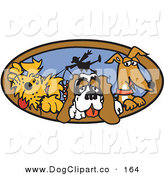 Vector Clip Art of a Trio of Pet Dogs Taking Their Dog Walker for a Walk Clipart Illustration by Andy Nortnik