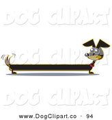 Vector Clip Art of a Very Long Black Dachshund Dog Looking Back at His Tail by Andy Nortnik