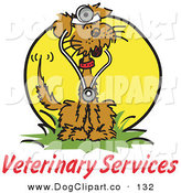 Vector Clip Art of a Veterinary Services Text Under a Brown Dog Wearing a Stethoscope on a Yellow Sphere by Andy Nortnik