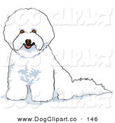 Vector Clip Art of a White Bichon Frise Dog Panting by Andy Nortnik