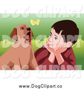 Vector Clip Art of a White Boy and Puppy Watching a Butterfly by Mayawizard101