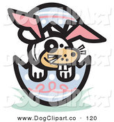 Vector Clip Art of a White Buck Toothed Dog Wearing Bunny Ears in an Easter Egg over White by Andy Nortnik