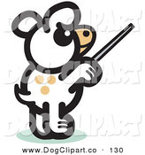 Vector Clip Art of a White Conductor Dog Standing on His Hind Legs and Using a Pointer Stick to Point Something out or Using a Wand to Conduct an Orchestra by Andy Nortnik