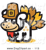 Vector Clip Art of a White Dog Disguised As a Thanksgiving Turkey by Andy Nortnik