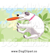 October 3rd, 2014: Vector Clip Art of a White Dog Jumping and Fetching a Disc by Mayawizard101