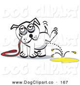 Vector Clip Art of a White Pet Dog on a Leash, Lifting His Leg and Urinating on the Ground by Andy Nortnik