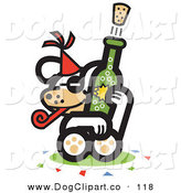 Vector Clip Art of a White Puppy Popping a Cork off of a Bottle of Champagne at a New Year's Party by Andy Nortnik