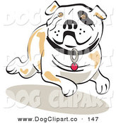 Vector Clip Art of a White Running Bulldog by Andy Nortnik