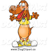 Vector Clip Art of a Wiener Dog in Shoes and a Shirt by Dennis Holmes Designs