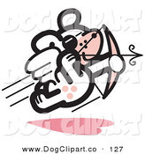 Vector Clip Art of a Winged Cupid Pet Dog Flying and Shooting Arrows with a Bow like Cupid on Valentine's Day by Andy Nortnik