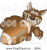 Vector Clip Art of a Wolf Grabbing a Football by Toons4Biz